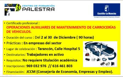 ¡Nuevo Curso! Certificado de Profesionalidad de Operaciones Auxiliares de Mantenimiento de Carrocerías de Vehículos